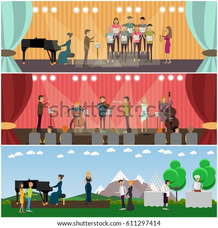 vector set orchestra concept posters banners stock vector royalty
