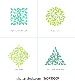 Vector set of organic and natural logo design templates - geometrical shapes made with leaves - green ecology signs and icons