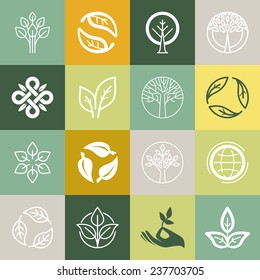 Vector set or organic signs and logo design elements - eco and bio emblems