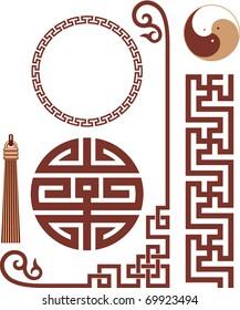 Vector Set of Oriental Design Elements (seamless border, corner, knot, frame)