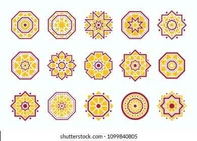 Vector set with oriental golden mandalas emblems. Asian mosaic geometric decorative elements isolated on white