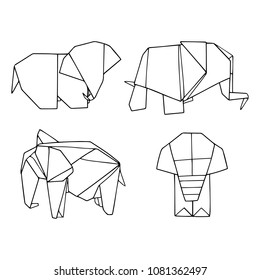 Vector set of origami animals: elephants. Lovely hand drawn illustration with outline. Black and white.