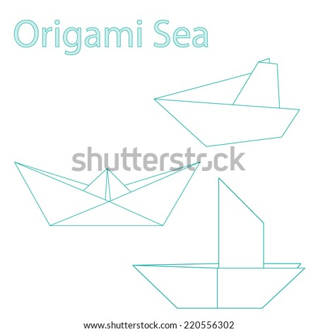 Vector Set Origami Boats Stock Vector Royalty Free 220556302