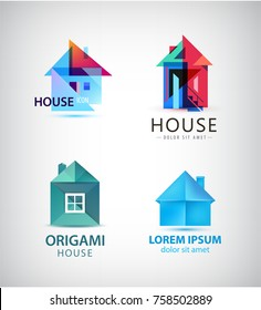 Vector set of origami and faceted house logos, icons.