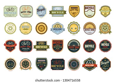 Vector set of original bicycle themed emblems. Extreme sport. Stylish labels. Creative typographic design for biking club, poster or t-shirt print