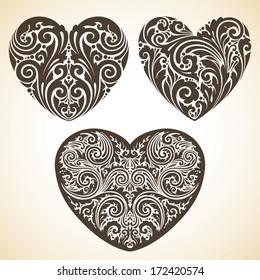 Vector set ornamental decorative hearts