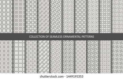 Vector set ornamental seamless patterns. Collection of geometric luxury modern patterns. Endless texture can be used for wallpaper, pattern fill, web page background.