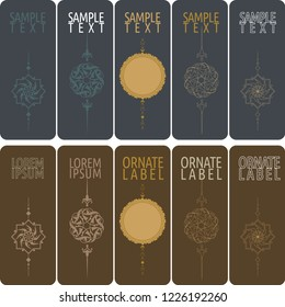 Vector set of ornamental tags for gifts, cuisine, holiday or sale.  oriantel and ottoman design.
