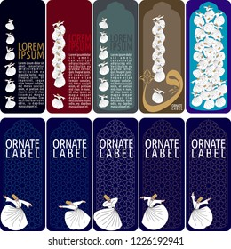 Vector set of ornamental tags for gifts, cuisine, holiday or sale.  oriental dervish design.