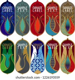 Vector set of ornamental tags for gifts, cuisine, holiday or sale.  oriental and ottoman tulip design.