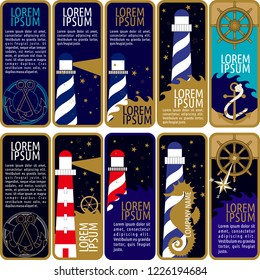 Vector set of ornamental tags for gifts, cuisine, holiday or sale.  nautical design.