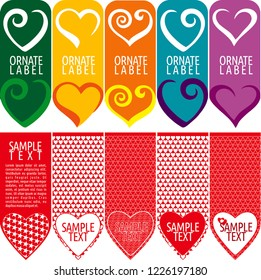 Vector set of ornamental tags for gifts, cuisine, holiday or sale. Heart design.
