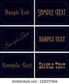 Vector set of ornamental tags for gifts, cuisine, holiday or sale. Black and golden design.