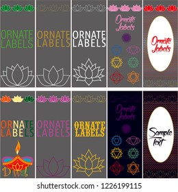 Vector set of ornamental tags for gifts, cuisine, holiday or sale. lotus and indian design.