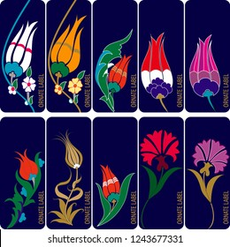 Vector set of ornamental tags for gifts, holiday or sale. Ottoman Tulip design. It can be used as wall board, banner, icon, sticker, label, tag, wallpaper, gift card, bookmark or book separator.