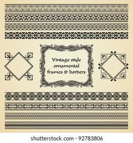 vector set: ornamental vintage style frames and borders