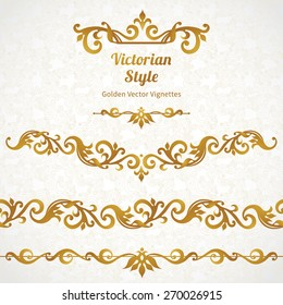 Vector set of ornate borders and vignettes in Victorian style. Gorgeous element for design. Ornamental vintage pattern for wedding invitations, birthday and greeting cards.Traditional golden decor.