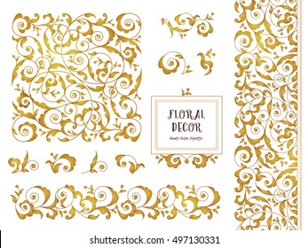 Vector set of ornate frames, borders, vignettes for design template. Elements in Eastern style. Golden floral ornaments. Luxury decor for invitations, greeting cards, thank you message.