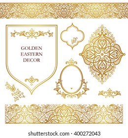 Vector set of ornate frames, seamless borders for design template. Eastern style element. Golden outline floral decor. Luxury illustration for invitations, cards, certificate, thank you message.