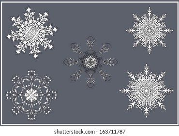 Vector set of ornate snowflakes, dedicated to Merry Christmas and Happy New Year