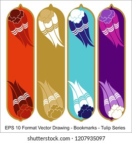 Vector set of ornate vertical Bookmark cards in oriental tulip style. It can be used as wall board, banner, icon, wallpaper, gift card, bookmark or book separator.