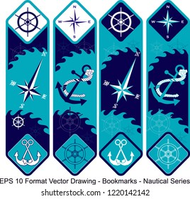 Vector set of ornate vertical Bookmark cards in nautical style.  It can be used as wall board, banner, icon, wallpaper, gift card, bookmark or book separator.