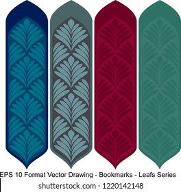 Vector set of ornate vertical Bookmark cards in leaf style.  It can be used as wall board, banner, icon, wallpaper, gift card, bookmark or book separator.