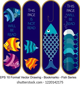 Vector set of ornate vertical Bookmark cards in fish style.  It can be used as wall board, banner, icon, wallpaper, gift card, bookmark or book separator.