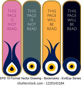 Vector set of ornate vertical Bookmark cards in evil eyes style.  It can be used as wall board, banner, icon, wallpaper, gift card, bookmark or book separator.