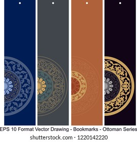 Vector set of ornate vertical Bookmark cards in ottoman style. It can be used as wall board, banner, icon, wallpaper, gift card, bookmark or book separator.