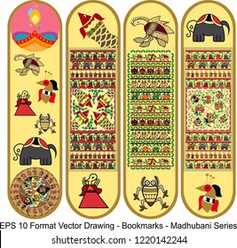 Vector set of ornate vertical Bookmark cards in madhubani style. Vector drawing. It can be used as wall board, banner, icon, wallpaper, gift card, bookmark or book separator.