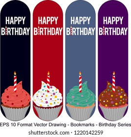 Vector set of ornate vertical Bookmark cards in birthday style.  Vector drawing. Birthday party, cake motifs. It can be used as wall board, banner, icon, wallpaper, gift card, bookmark or book separa