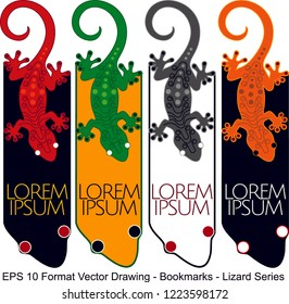 Vector set of ornate vertical Bookmark cards in oriental lizard style. It can be used as wall board, banner, icon, wallpaper, gift card, bookmark or book separator.