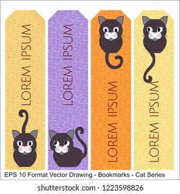 Vector set of ornate vertical Bookmark cards in oriental cat style. It can be used as wall board, banner, icon, wallpaper, gift card, bookmark or book separator.