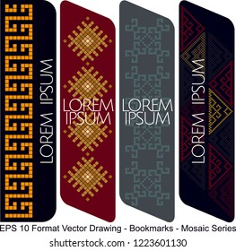 Vector set of ornate vertical Bookmark cards in oriental mosaic style. It can be used as wall board, banner, icon, wallpaper, gift card, bookmark or book separator.