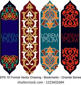 Vector set of ornate vertical Bookmark cards in oriental style. It can be used as wall board, banner, icon, wallpaper, gift card, bookmark or book separator.