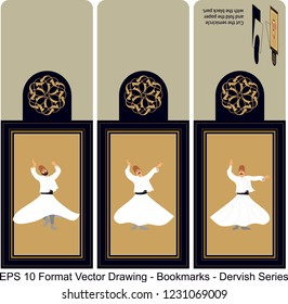 Vector set of ornate vertical Bookmark cards in dervish style. It can be used as wall board, banner, icon, wallpaper, gift card, bookmark or book separator.