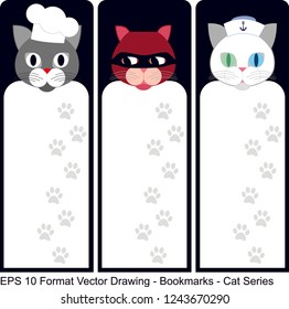 Vector set of ornate vertical Bookmark cards in cat style.  It can be used as wall board, banner, icon, wallpaper, gift card, bookmark or book separator.