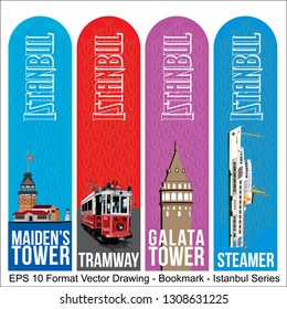 Vector set of ornate vertical Bookmark cards in Istanbul style.  It can be used as wall board, banner, icon, wallpaper, gift card, bookmark or book separator.