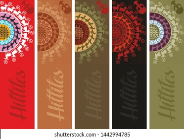 Vector set of ornate vertical Bookmark cards in Anatolian Civilizations series. Hittite Empire. It can be used as wall board, banner, icon, wallpaper, gift card, bookmark or book separator.