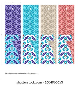 Vector set of ornate vertical Bookmark cards in kaftan style. It can be used as wall board, banner, icon, wallpaper, gift card, bookmark or book separator.