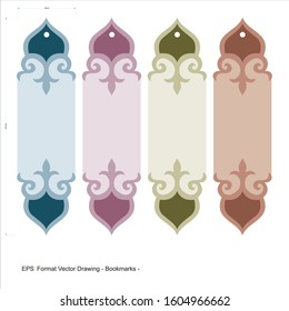 Vector set of ornate vertical Bookmark cards in rumi style. It can be used as wall board, banner, icon, wallpaper, gift card, bookmark or book separator.
