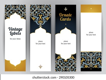 Vector set of ornate vertical cards in oriental style. Bright Eastern floral decor. Template vintage frame for greeting card and wedding invitation. Labels and tags with place for text.