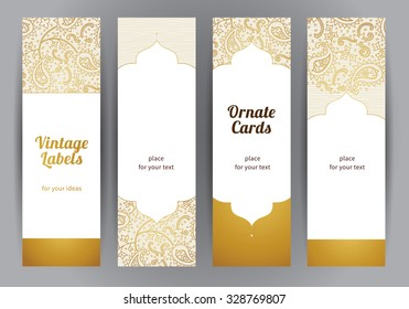 Vector set of ornate vertical cards in oriental style. Golden Eastern floral decor. Template vintage frame for greeting card and wedding invitation. Labels and tags with place for text.