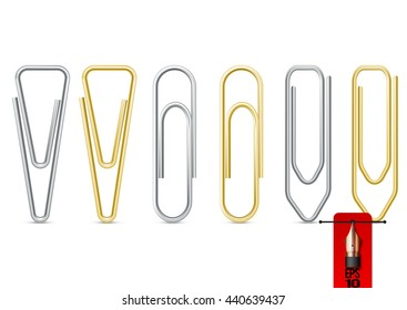 Vector set ot metal paper clips silver and gold steel
