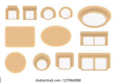 Vector set. Outdoor furniture. (top view) Wicker furniture. Tables, benches, chairs. (view from above).