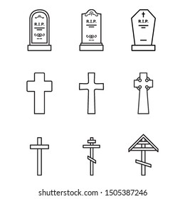 Vector Set of Outline Cemetery Icons. Tombstones and Crosses. Funeral Symbol.
