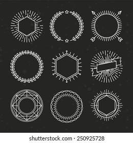 Vector set of outline emblems and badges - abstract linear hipster logo templates with arrows, wreaths and copy space for text