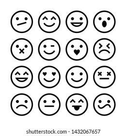 Vector Set Of Outline Emoticons.