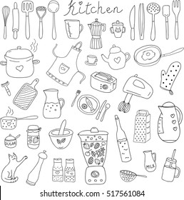 Vector set of outline hand drawn kitchen themed objects and appliences. Doodle vector elements.